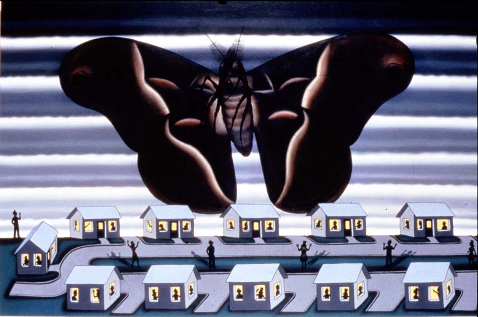 "Roger Brown, ""Mothra at Inner Circle Drive,"" oil on canvas (1988) Courtesy of Russell Bowman Art Advisory, Chicago"
