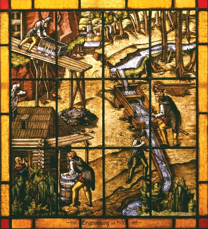 "Willibald Bierl (1913-1998), ""Ore Mining Around 1500 (After Georgius Agricola 1556),"" 1982, Glass"