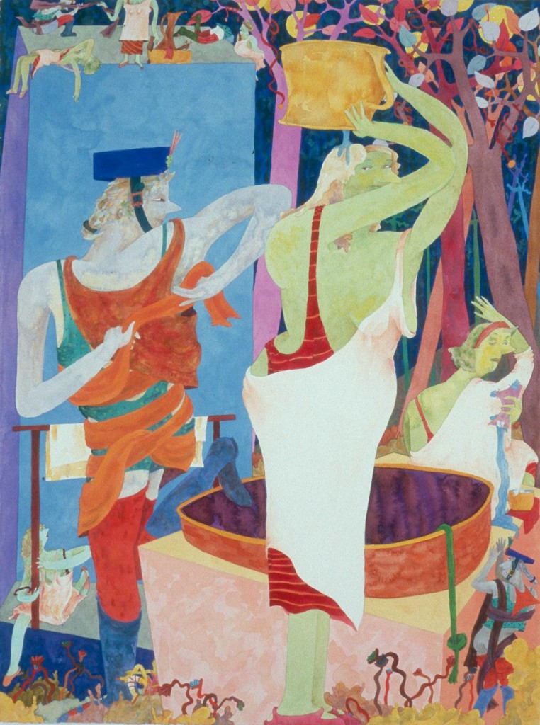 """Gladys Nilsson, """"The Well,"""" watercolor and gouache on paper, 2008"""