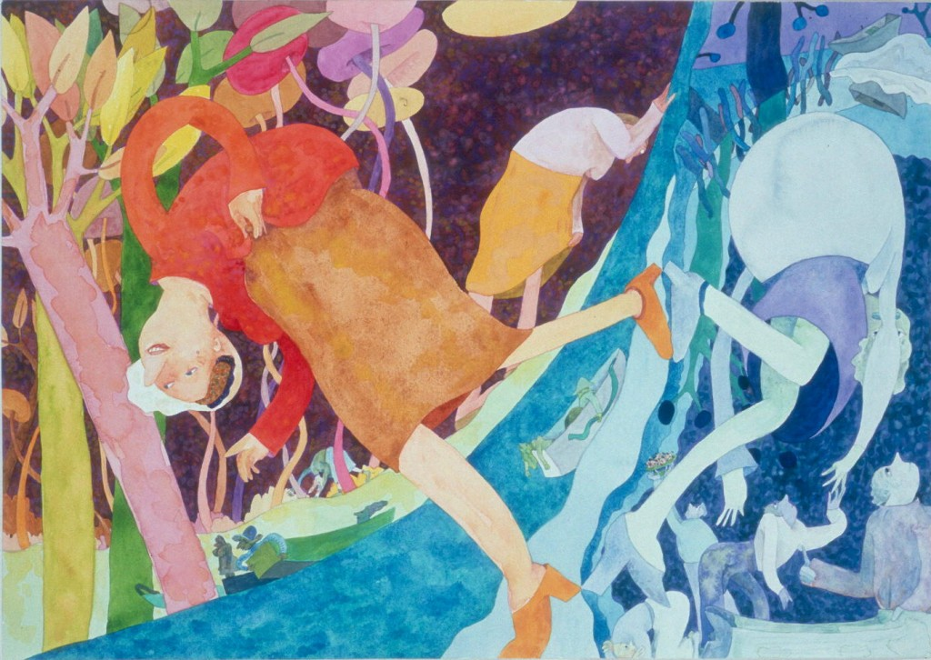 """Gladys Nilsson, """"Turnabout Walk,"""" watercolor and gouache on paper, 2009"""