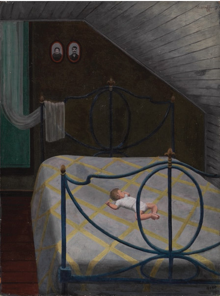 """Siesta Upstairs,"" c. 1945, oil on panel"