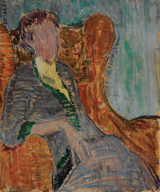 "Vanessa Bell, ""Virginia Woolf,"" ca. 1912, oil on paper board. Smith College Museum of Art, Northampton, MA, gift of Ann Safford Mandel, class of 1953."