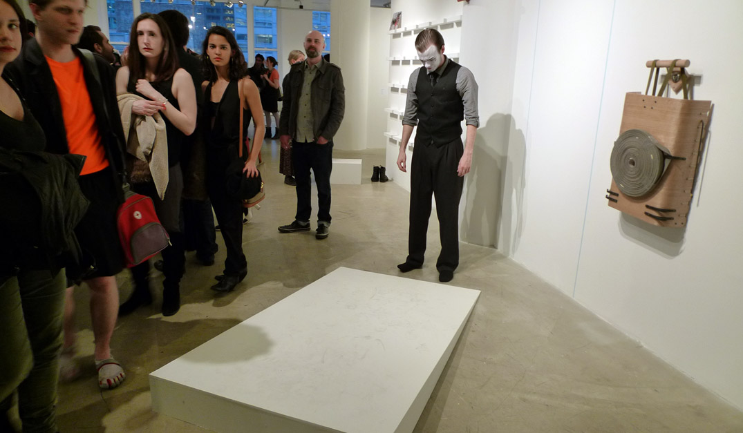 Performance art, including mimes devoid of sarcasm and irony, were all the rage during SAIC's MFA 2013 opening reception.