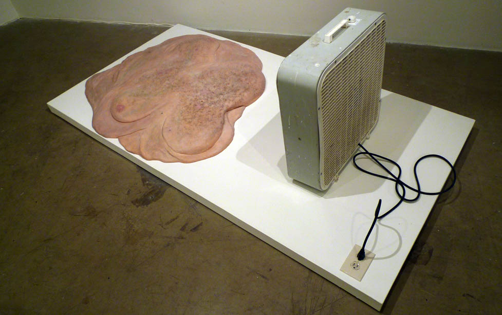 Michael H. Hall channels Nauman and Gober in this disgusting blob of silicone foam and hair ventilated by a cheap fan.