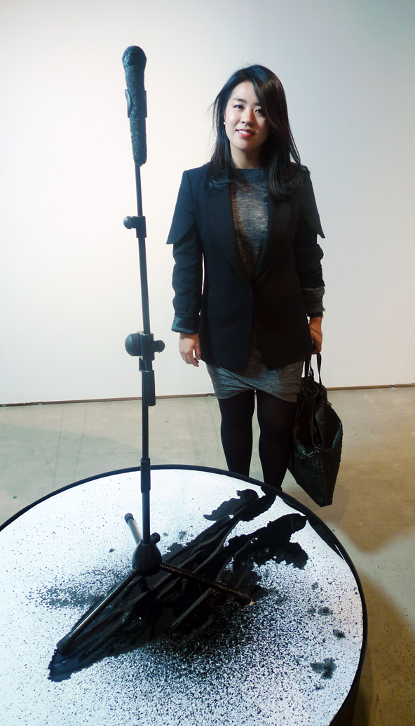 Suk An with her ethereal mixed media sculpture.