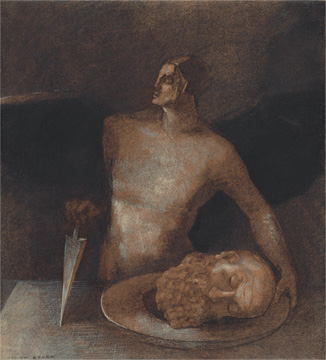 """Odilon Redon, """"Angel-Executioner,"""" 1873/77 and 1893. Promised gift of Celia and David Hilliard."""