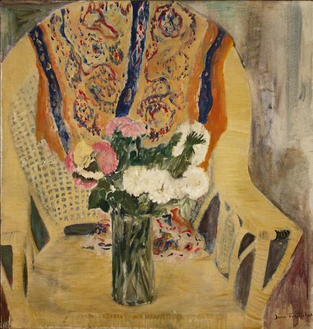 """""""Flowers in Armchair,"""" oil on linen, 1956"""