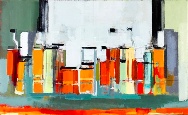 """""""Bottles and Jars XXXIII,"""" oil on canvas, 2013"""