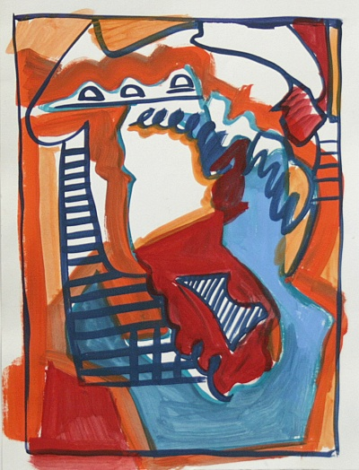"""""""Sketch for Duck in Situ,""""  acrylic on paper, 2013"""