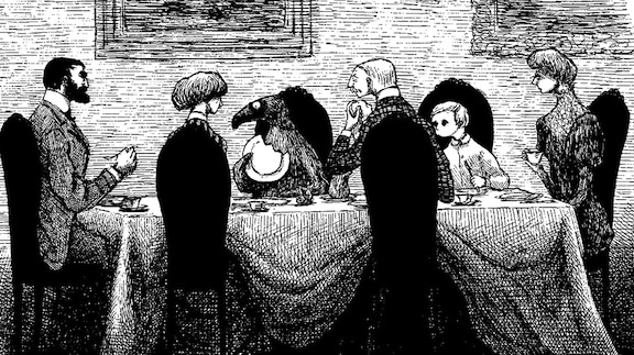 Illustration (detail) from The Doubtful Guest, 1957, © The Edward Gorey Charitable Trust. All rights reserved.