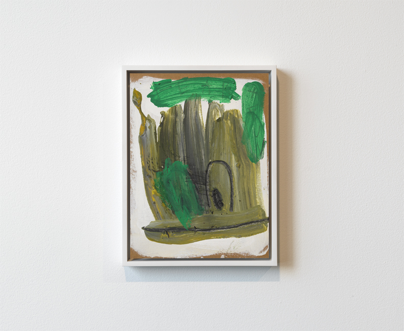 """""""Green Duck,"""" oil and charcoal on cardboard panel, 2013"""