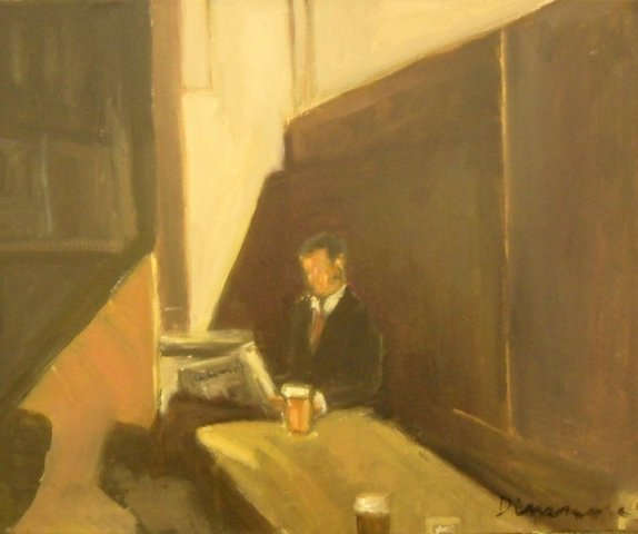 """Reader with Pint,"" oil on canvas"
