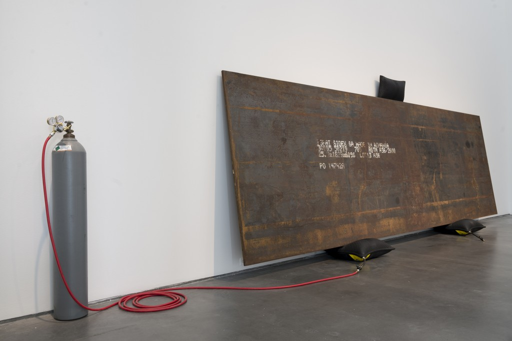 "Simon Starling. ""Bird in Space,"" imported Romanian steel plate, inflatable jacks, and helium, 2004"