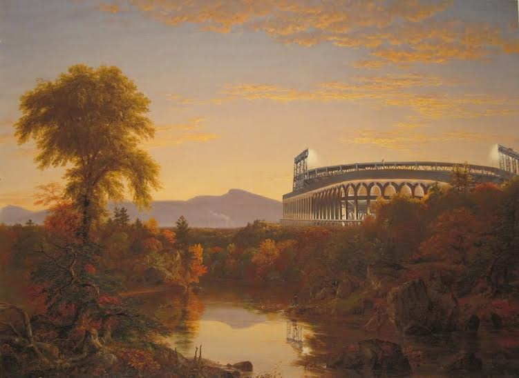 "Geoffry Smalley. ""Catskill Creek, Citi Field,"" acrylic on inkjet print, 2012"