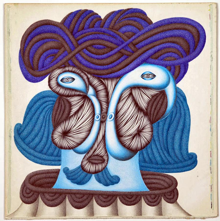 """Tete a Tete,"" pencil, ink, colored pencil, on verso of LP cover, 2014"