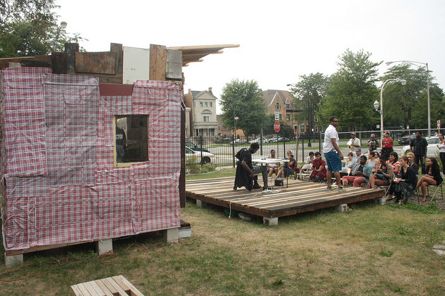 ":ast fall Sixty Inches from Center participated in Faheem Majeed's installation and event series ""Shacks and Shanties."""