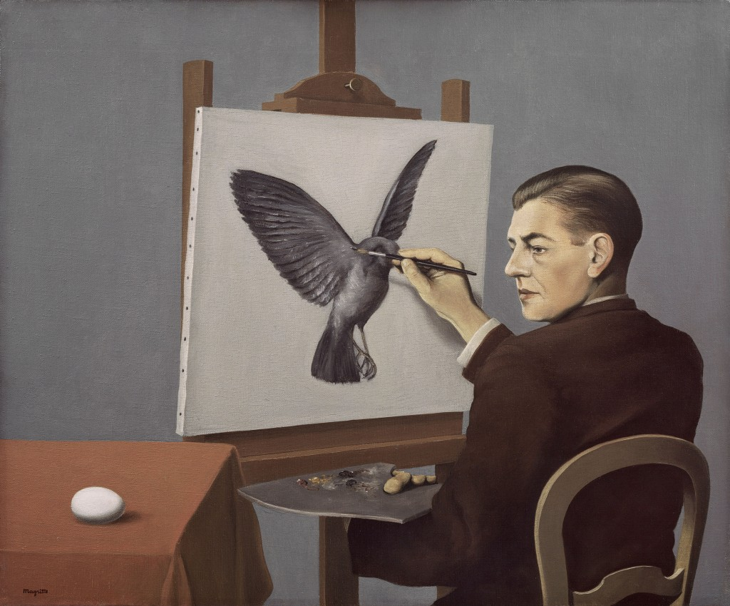 "René Magritte. ""Clairvoyance (La Clairvoyance),"" oil on canvas, 1936"