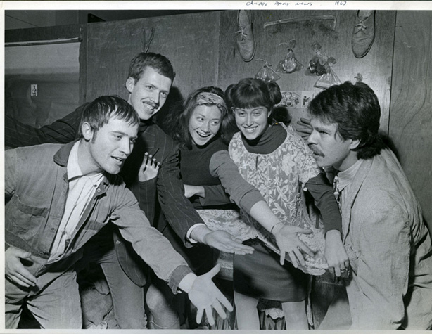 Karl Wirsum, Art Green, Gladys Nilsson, Suellen Rocca, Jim Nutt, 1967 (Photo by Charles Krejcsi)