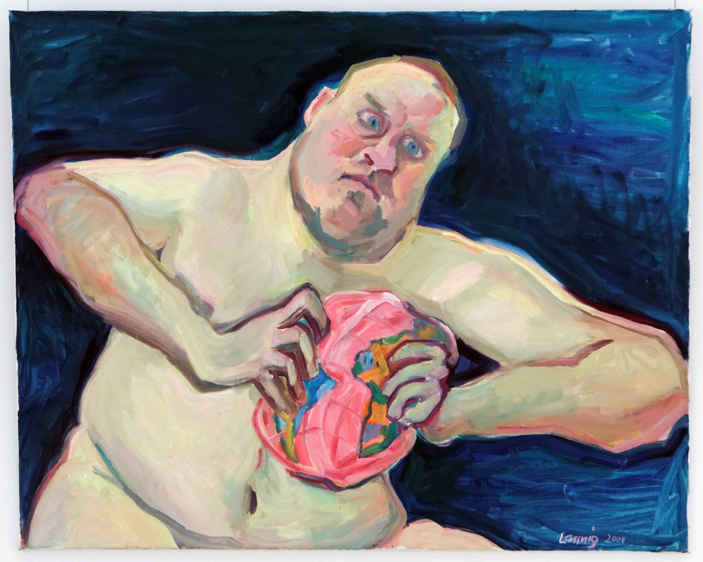 "Maria Lassnig. ""Der Weltzertrümmerer (The World Destroyer),"" 2001, oil on canvas 100 × 125 cm Defares Collection, Amsterdam, Netherlands"