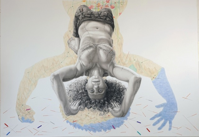 """SUSPENSION: RR,"" charcoal, colored pencil and acupuncture needles on paper, 30"" x 44"", 2012"