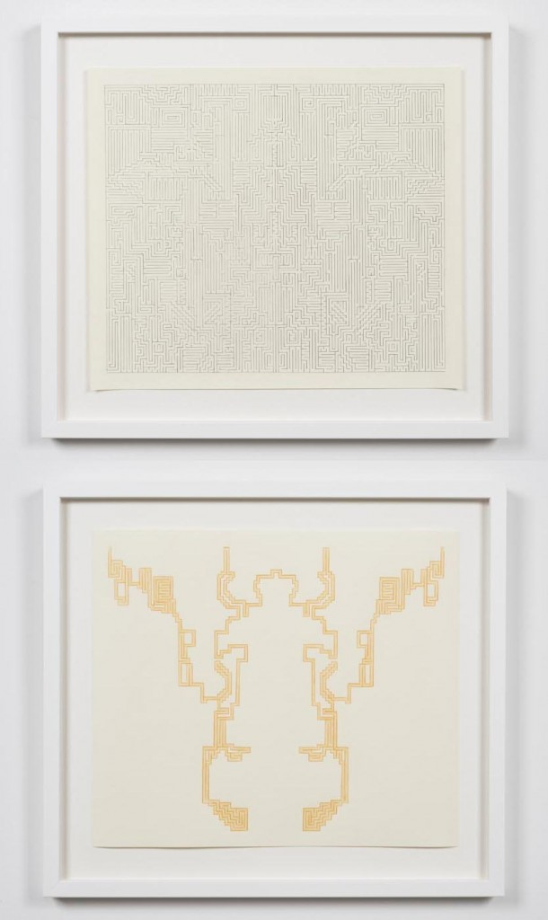 "Lilli Carré. ""Solution Drawing (no. 2),"" 2014, maze: pencil on paper, solution: colored pencil on paper"