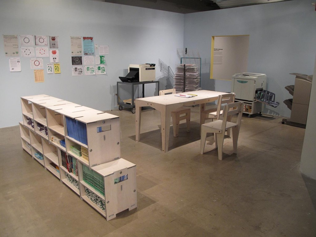 "Installation view with ""Publishing Clearing House"" by Temporary Services"