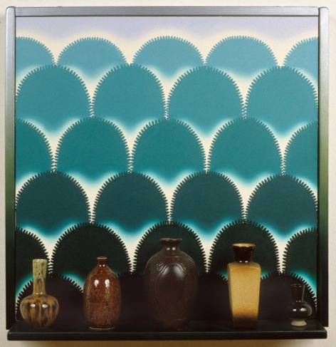 "Roger Brown. ""VSL # 8: Vases with a View,"" 1995, oil on canvas, mixed media"