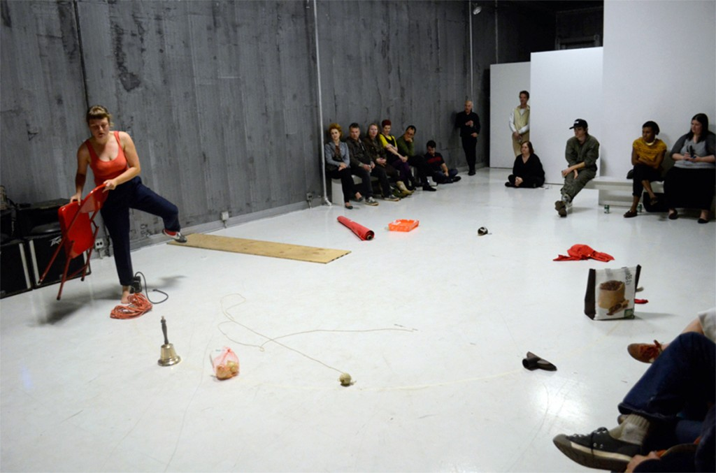 "Ieke Trink performing ""The Order of Things"" last year at Defibrillator Gallery. Photo by Isabelle McGuire."