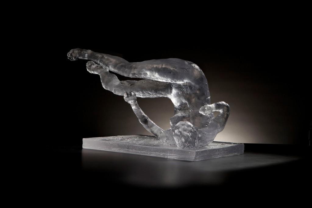 "Eric Fischl. ""Tumbling Woman, Study,"" 2012, glass, 12 x 18 x 14 in."