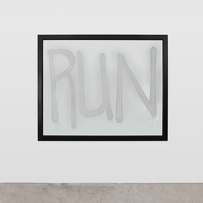 "Rashid Johnson. ""Run,"" 2008,  mirror with spray paint"