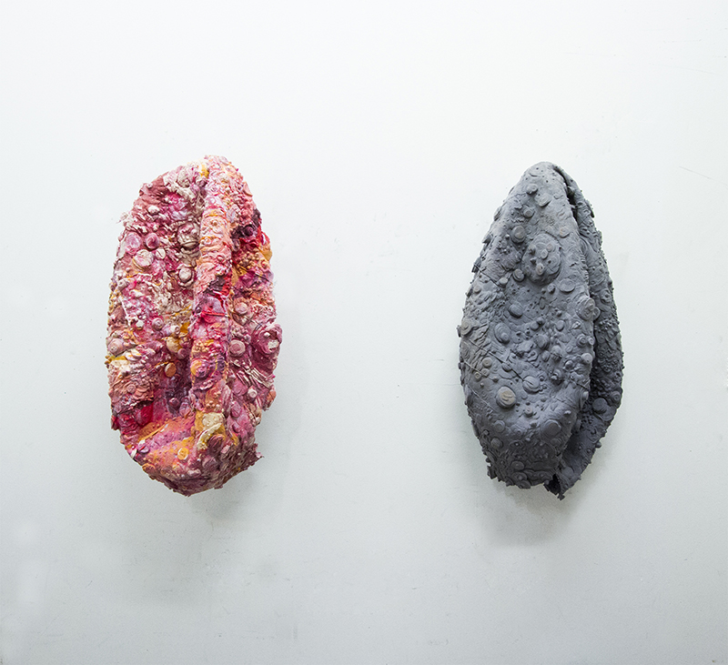 "Sarah and Joseph Belknap. ""Deflated Exoskin (1)"" (left) and ""Deflated Moon Skin (1)"" (right), 2014."