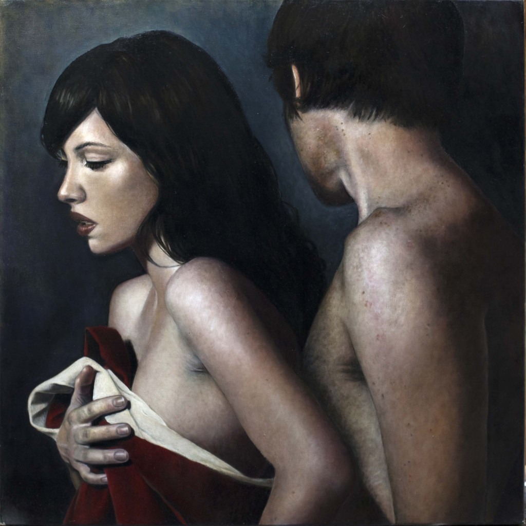 "Elizabeth Claire. ""Turning Away,"" 2014 oil on linen, 24"" x 24"""