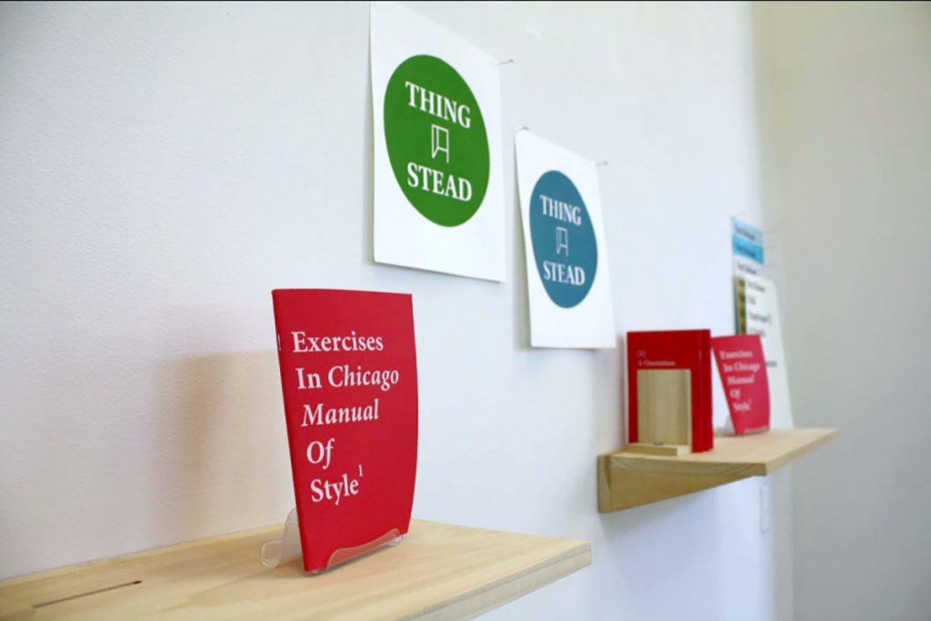 Chris Reeves and Aaron Walker's ThingStead press on view at UIC's Gallery 400 lobby