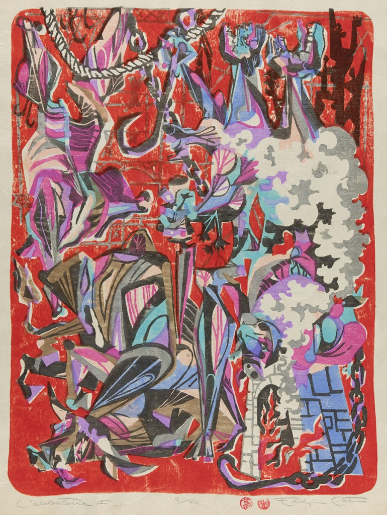 "Eldzier Cortor. ""L'Abbatoire I,"" 1950s, woodblock print"