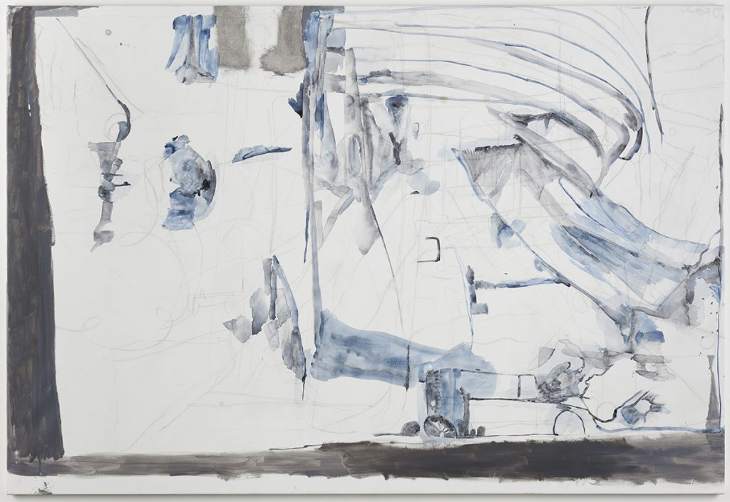 "Varda Caivano. ""Untitled,"" 2015 acrylic, charcoal and oil on canvas 70 7/8"" x 47 1/4"""