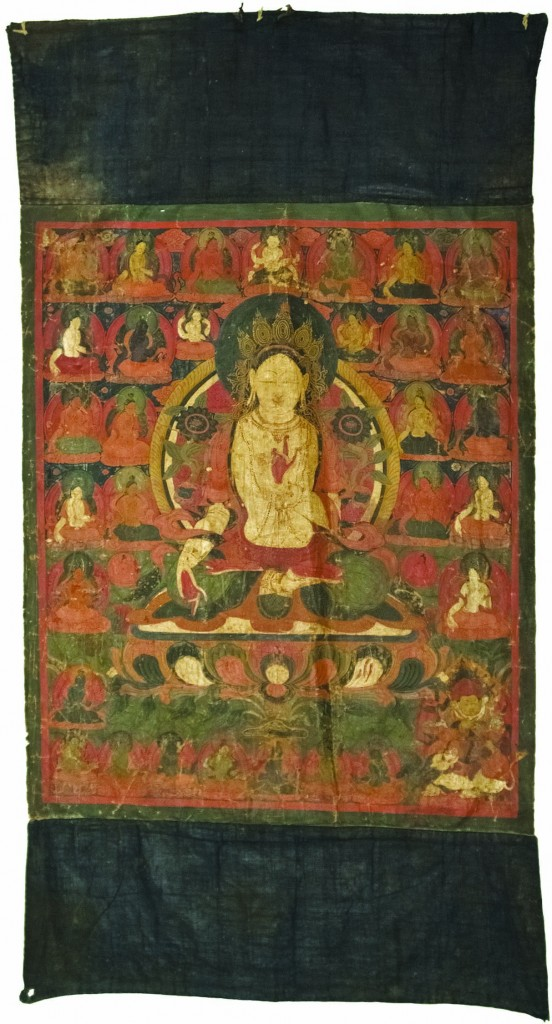 """White Tara Painting,"" Western Tibet, 16th-17th century painting on cloth, University of Michigan Museum of Anthropological Archaeology Koelz Collection of Himalayan Art, Koelz 17458 [K569]"