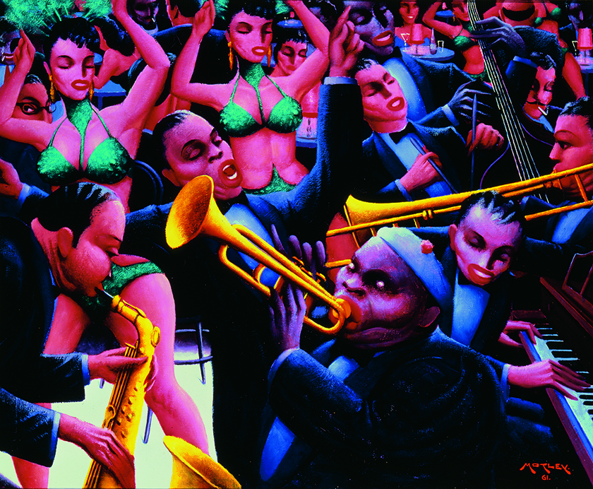 "Archibald J. Motley Jr. ""Hot Rhythm,"" 1961 oil on canvas, 40"" x 48.375"""