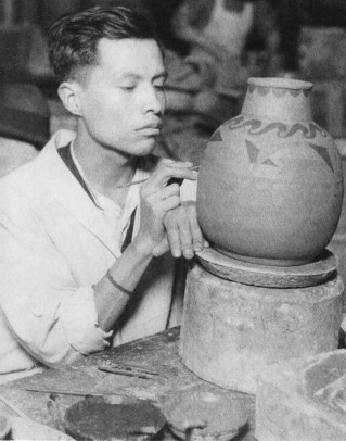 Ceramic artist Jesus Torres creates pottery at Hull-House in the early 1930s. Photo: Wallace Kirkland, UIC, Jane Addams Memorial Collection.