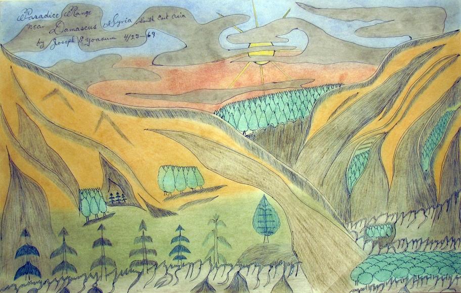 "Joseph E. Yoakum. ""Paradice [sic] Range near Damascus Syria South East Asia 4/23-69,"" 1969. Colored pencil and ballpoint pen on paper, 11 3/4 x 19 inches."
