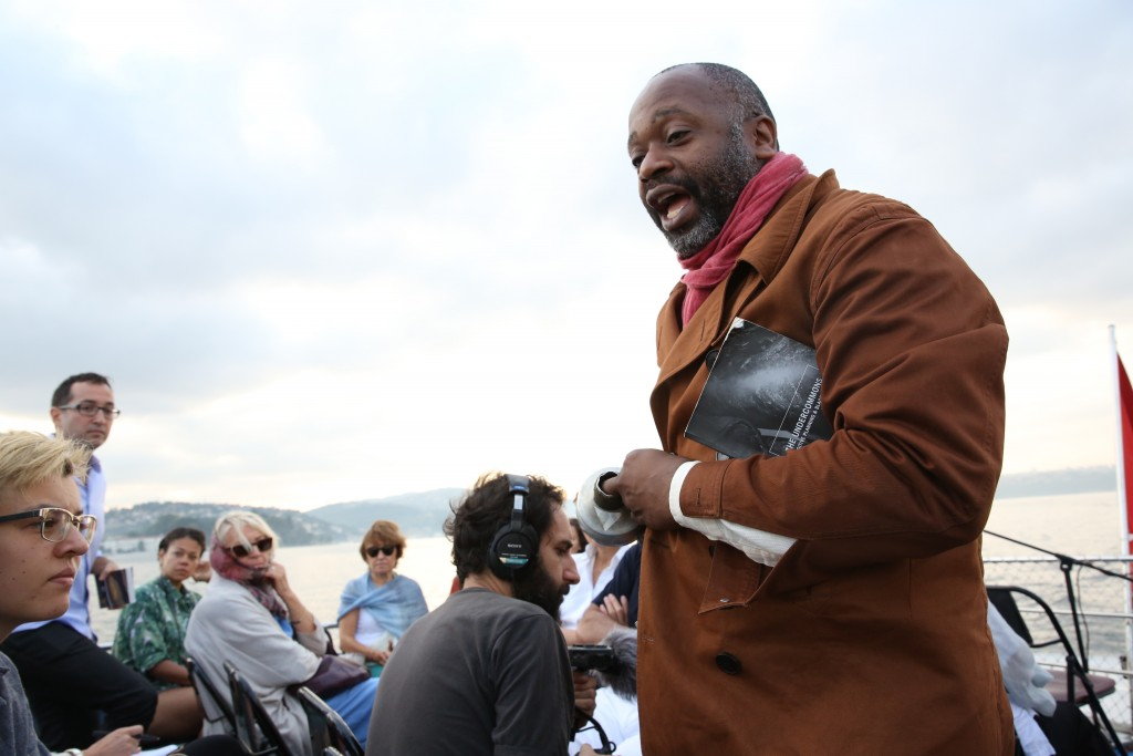 "Theaster Gates. ""The Anthem of Mu,"" 2015. Performance on the Bosphorus for ""Saltwater: A Theory of Forms."" /Photo: Mehmet Girgin."