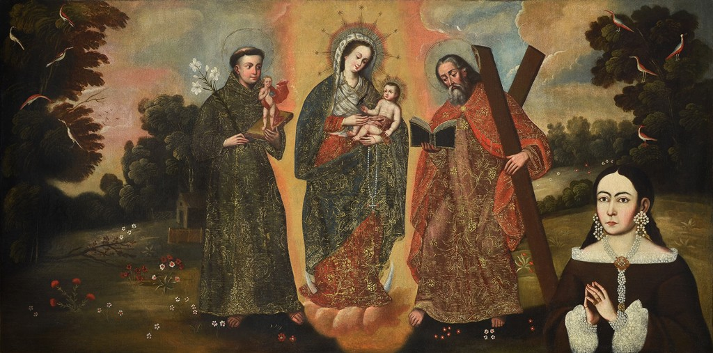 "Unidentified Artist?. ""Our Lady of the Rosary of Chiquinquirá with Female Donor,"" late 17th/early 18th century."