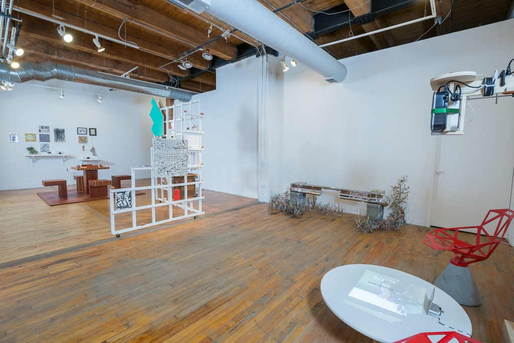 """Installation view of Brandon Alvendia's exhibition """"The Great Good Place"""" at Threewalls, November 11 - December 12, 2015."""