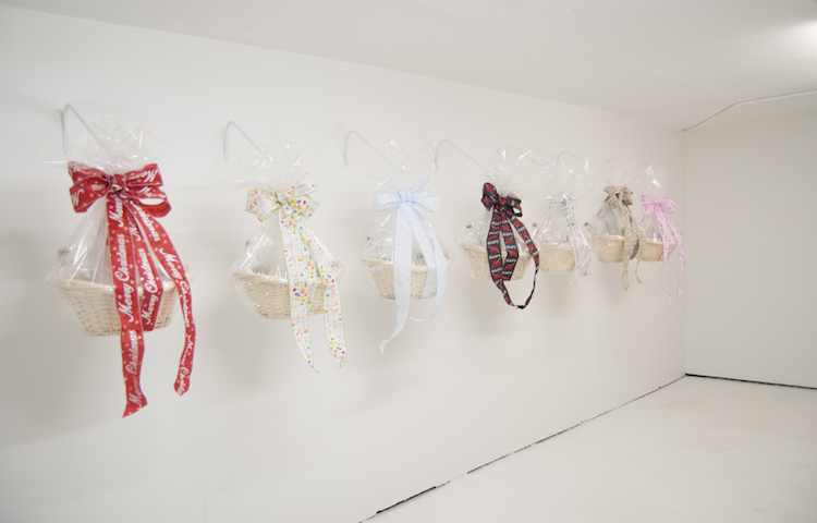 """Kelly Lloyd .Installation view of """"Gift Baskets by Occasion"""" at THE SUB-MISSION, 2016."""