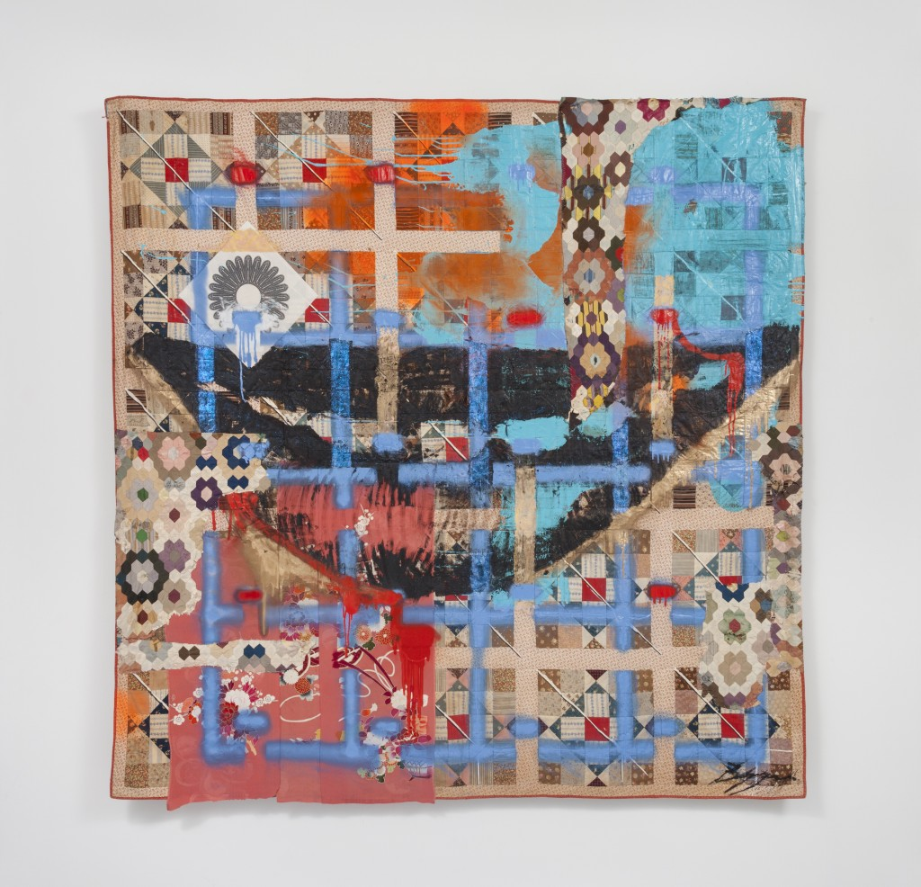 "Sanford Biggers. ""Hat & Beard,"" 2016. Glitter, tar, acrylic, oil stick, spray paint, assorted textiles, and screen printed fabric on antique quilts, 79 x 79 inches."