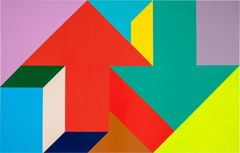 "Tony Tasset. ""Arrow Painting 11,"" 2015. Oil on aluminum panel, 42 x 66."