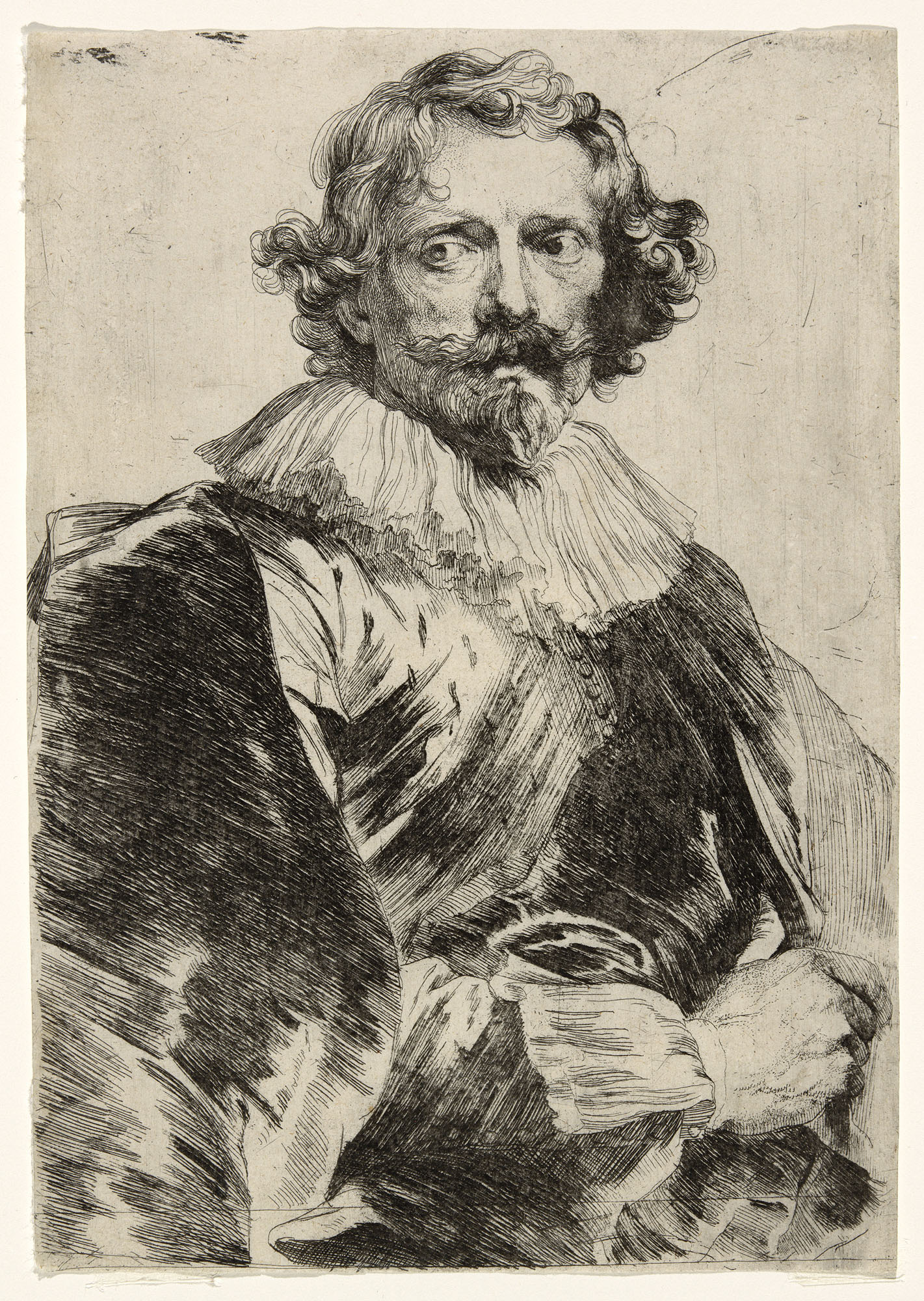 "Anthony van Dyck (Flemish, 1599–1641). ""Lucas Vorsterman,"" 1630/33. Etching in black on ivory laid paper, 218 x 151 mm."