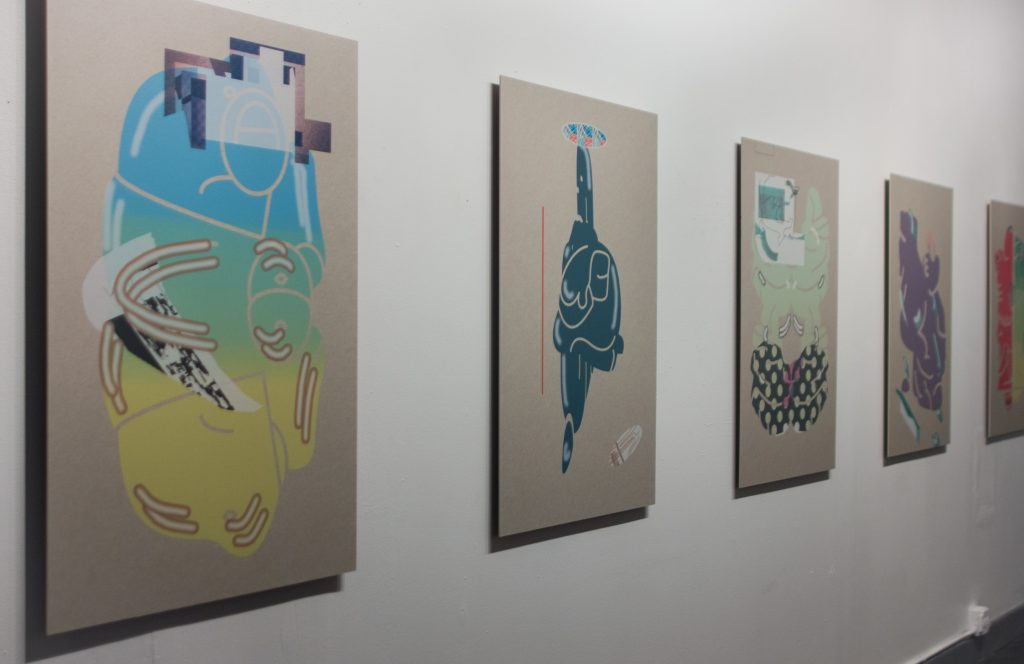"""Sonnenzimmer. Installation view of """"Vector Sculptures"""" at Elastic Arts, Spring 2016"""