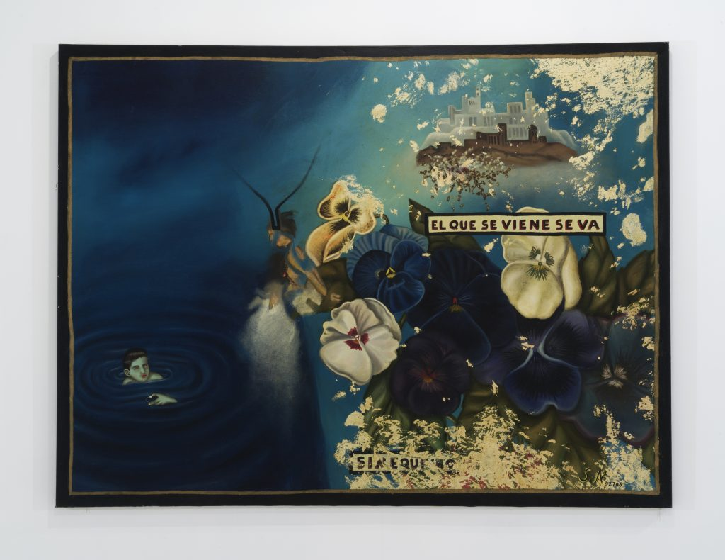"Julio Galán, ""El Que Se Viene Se Va,"" 1988. Oil on canvas, 68 x 90 inches /Photo: John Berens"