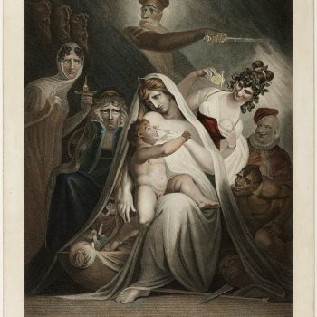 "Moses Haughton II, after Henry Fuseli, ""The Nursery of Shakespeare,"" 1810. Stipple engraving with hand-coloring on cream wove paper, 518 x 403 mm (image); 607 x 469 mm (sheet)"