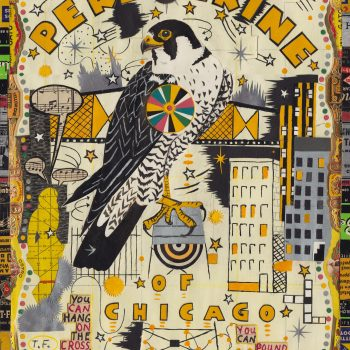 "Tony Fitzpatrick, ""Peregrine of Chicago,"" 2014. Gouache, watercolor, ink and collage"